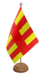 Northumberland Desk / Table Flag with wooden stand and base